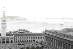 Iconic Ferry Building and bay bridge. Taken from one of the guestrooms from Hyatt Regency San Francisco.