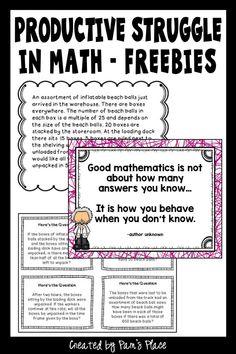 Productive Struggle in Math Elementary Math, Upper Elementary, Math Coach, 7th Grade Math, Instructional Coaching, Math Classroom, Maths, Teacher Blogs, Student Teaching