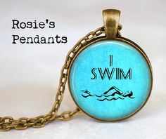 Swimming I Swim  Handcrafted Pendant or Key Ring by RosiesPendants