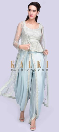 828930f50d5 Ice blue embroidered peplum top with matching dhoti and long net jacket only  on Kalki