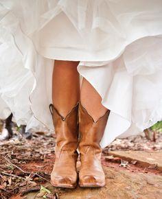 Bridal Cowboy Boots   Ned Jackson Photography   blog.theknot.com