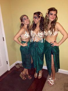 Mermaid Halloween Costumes, Big Little Halloween, Starfish, Mermaids, Shell Bra, DIY