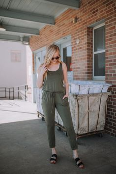 8b1c8b777b1 Z Supply Comfortably Casual Olive Jumpsuit