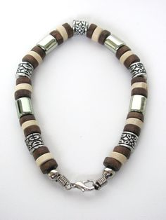 Beaded Jewelry Product | Tri-tone Brown Surfer Beaded Bracelet, Men's Beach Jewelry
