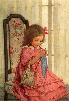 Girl Knitting, by Jessie Willcox Smith (1863 – 1935, American)