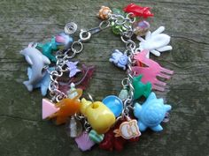 Bright Coloured Animal Charm Bracelet by Burnt Spaghetti $20 #jewelry #jewellery #charm #bracelet #animal #multicolored