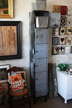 DIY File Cabinet Project: Convert a vintage locker into a quirky, five-tier office file cabinet. Buy adjustable hanging-file-folder-drawer-frames from Office Depot, and insert in each locker. Office File Cabinets, Diy File Cabinet, Toy Storage, Locker Storage, Vintage Lockers, Hanging File Folders, Hanging Files, Metal Baskets, Repurposed