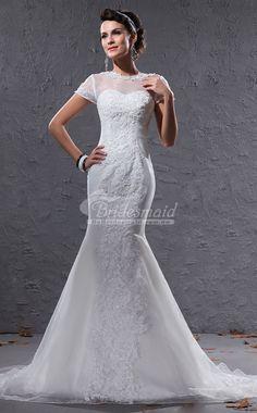 Modest Illusion Short Sleeve Ivory Mermaid Wedding Dresses-COUPON CODE:AUBB05WD,Get au$5 OFF