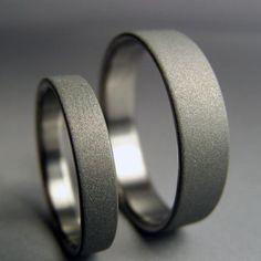 Modern Handmade Titanium wedding band set -- satin and gray