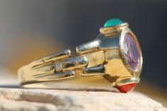 Vintage 14k Yellow Gold Amethyst Garnet Chrysoprase Stoplight Ring | eBay