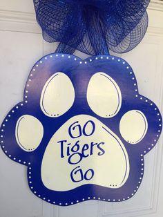 University of Memphis Football, University of Memphis, Memphis Tigers, Door Hanger, Memphis Door Hanger by SassyHangUps on Etsy https://www.etsy.com/listing/223386103/university-of-memphis-basketball