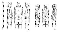 Figure 4. Two warrior statues from Lezenho. After Silva (1986).