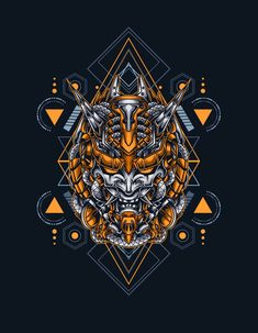 Mecha Demon Sacred Geometry Vector Illustration - EPS, AI
