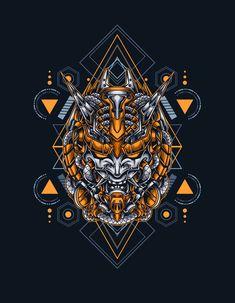 Mecha Demon Sacred Geometry Vector Illustration - EPS, AI