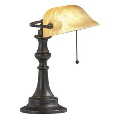 Classic banker's desk lamp from Kichler lighting. From the Kichler lighting collection. Style # 49521 at Lamps Plus. Bankers Desk Lamp, Piano Lamps, Cove Lighting, Beige Marble, Pull Chain, Bronze Finish, Glass Shades, Lamp Light, Table Lamp