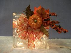 Decorative Handmade Lighted Glass Block For a Hint of Fall Colors, A Touch of Autumn, or A Perfect Welcome For Your Thanksgiving Season on Etsy, $30.00