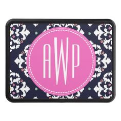 Ikat & Pink Monogram Trailer Hitch Covers by Jill's Paperie