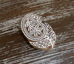 Hand Carved Paisley Flower Stamp, Handmade Indian Printing Block, Wood Block Stamp, Wooden Textile Clay Pottery Ceramic Henna Stamp, India, by DelhiDaze, $12.00