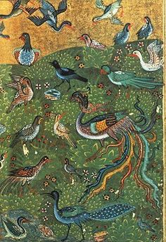 The Conference of the Birds: From Serving the Guest: A Sufi Cookbook & Art Gallery Medieval Manuscript, Medieval Art, Illuminated Manuscript, Mughal Paintings, Islamic Paintings, Mythical Birds, Persian Culture, Iranian Art, Painted Books