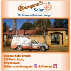 You'll find Bergen's Solar Branch at: 910 Florin Road, Wilgeheuwel Follow us on Instagram and Pinterest.  #weharnessnaturessolarenergy #bergenssolar #solar #southafrica #loadshedding #bergens #solarpower #energy #gogreen  Follow us on Instagram and Pinterest Contact:  073 556 0073 Email:  mark@bergens.co.za