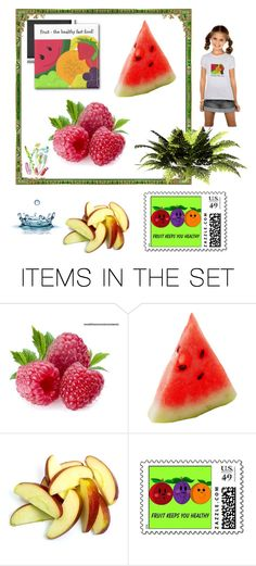 """Eat More Fruit"" by fit4you on Polyvore featuring art, whimsical, fruits, fruit and cartoon"
