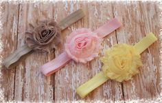 Rosette Headband Set Set of 3 Light Yellow by SaraOlsenDesigns, $12.00