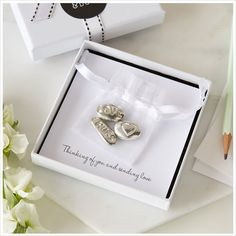 3 Pewter 'Love, Hugs & Heart' Pebbles Sympathy Gift with Bag & Card