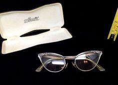 Vintage Retro MCM 50s 60s Negro Para Damas Gafas ojo de gatos con marcos de metal