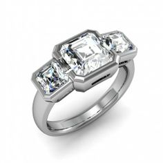 -comes with 2x .35ct Natural Asscher Cut Sidestones ~ .70ct Total-Center Stone and Sidestones Bezel Setting