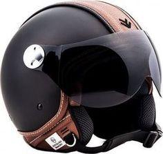 Arrow AV-84 Vintage Deluxe Black Biker Helmets, Custom Motorcycle Helmets, Motorcycle Bike, Riding Helmets, Custom Helmets, Moto Vespa, Vespa Scooters, Scooter Helmet, Bicycle Helmet