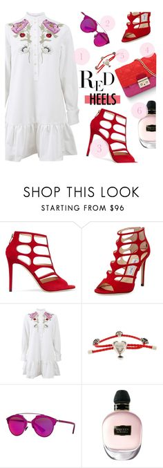 """Red Heels: Women's Best Friends"" by the-amj ❤ liked on Polyvore featuring Jimmy Choo, Alexander McQueen and Christian Dior"