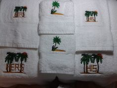 Bath towel set Embroidered with His & Hers Palm Tree by StitchnJEmbroidery on Etsy