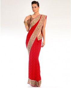 Indian Red Sari with Cut-work Border