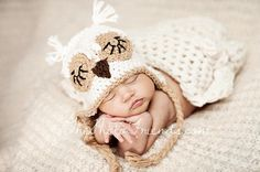 Natural Sleepy Owl Earflap Hat w/ Braid - Great Photographers Prop