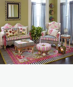 Be still my heart...Meet the new Summerhouse Furniture Collection. The floral fabric on the backs of the sofa and wing chair are so beautiful...that fabric (imported from France) combined with Courtly Stripe fabric (imported from Italy), combined with hand painted accents (from Aurora, N.Y.) are a fantastic combination. And look closely at the upholstered scalloped decks of the sofa and chair!