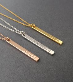 Nameplate Necklace, A Custom Bar Necklace, Personalized Name Necklace, Vertical Bar Jewelry, Your Name Necklace