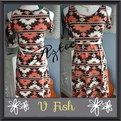 FINAL SALE Tribal Aztec print dress Fabulous and hot Aztec print dress with open shoulders, optional belt comes with it. VFISH Dresses