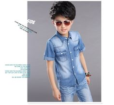 facc25b041e F8004 2017cool Well Quality Handblast Slim Leisure Blue Boys Cotton Demin  Shirts Kids Jeans Wholesale