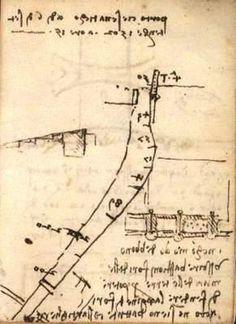 Planimetria del porto canale e una veduta a volo d'uccello del borgo marinaro. Leonardo da Vinci