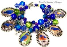 Bluebird Charm Bracelet Jewelry Nature Lovers Bracelet by baublesbeadsncharms, $37.88