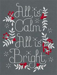 Classic Christmas lyrics get a pretty, contemporary look in this light-stitching design.