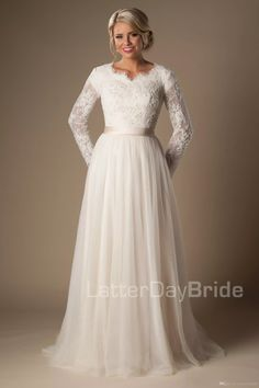 Ivory A-line Beaded Lace Tulle Modest Wedding Dresses With Long Sleeves Scalloped Neck Buttons Up Back Full Sleeves Long Bridal Gowns Modest Wedding Dresses Modest Wedding Dresses Wedding Dresses With Sleeves Online with $208.32/Piece on Totallymodest's Store | DHgate.com