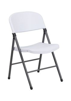 Flash Furniture HERCULES Series 330 lb. Capacity White Plastic Folding Chair with Charcoal Frame [DAD-YCD-50-WH-GG]