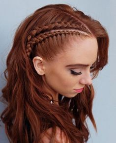 This lovely braided red hair color is new school braids 2019 Hair Color Trends That You Should Copy Right Away Redhead Hairstyles, Box Braids Hairstyles, Cool Hairstyles, Wedding Hairstyles, Viking Hairstyles, Hairstyles Videos, Office Hairstyles, Anime Hairstyles, Braided Hairstyles For Short Hair