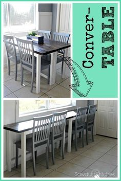 Conver-TABLE From breakfast to buffet. Conver-TABLE From breakfast to buffet. Convertible Furniture, Convertible Table, Breakfast Bar Kitchen, Breakfast Bars, Breakfast Buffet, Breakfast Nooks, Breakfast Muffins, Breakfast Ideas, Diy Casa