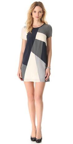 love this angled panels dress