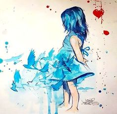 Cute watercolor little girl is turning to the bluebirds. Gorgeous meaningfull tattoo design for women. Style: Watercolor. Color: Blue. Tags: Cute, Amazing, Beautiful
