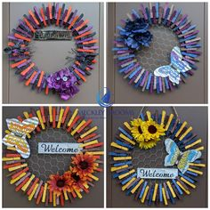Dollar Store Crafts, Crafts To Sell, Fun Crafts, Crafts For Kids, Arts And Crafts, Wreath Crafts, Wreath Ideas, Diy Wreath, Wreaths