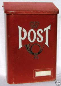 Mine weren't red, but we all had mail boxes by our front door... And mail was delivered by a walking mailman.  In the early 50's TWICE a day!