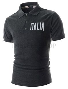 (RDST34-CHARCOAL) Mens Slim Collar Neck Stripe Patched Embroidery Short Sleeve Tshirts